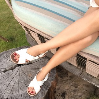 ARYA ; Chill Cross Sandal , Genuine Leather with Arch Support (White)