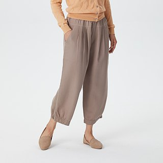 Harmony Gauze Pleated Pants - Grey Brown