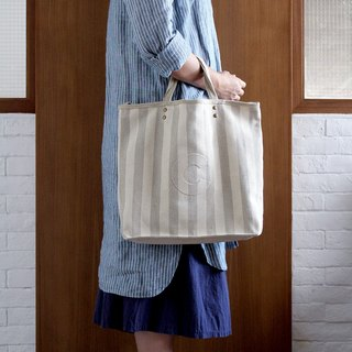 Striped Linen AlphaBAG customized letter hand craft linen tote bag
