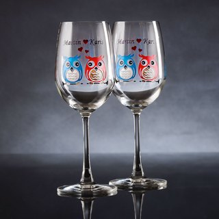 My Crystal Red Wine Glasses - Owls ( including engraved names & date )