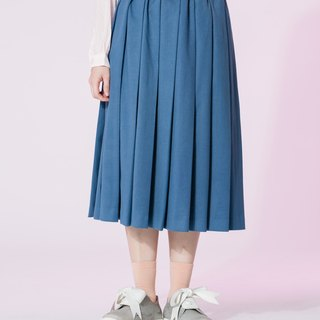 : In EMPHASIZE waist drawstring elastic waist sanded pleated skirt - navy blue