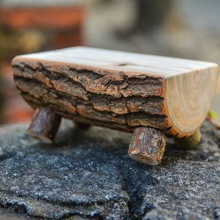 Natural wood small table - handmade polished camphor