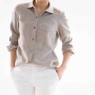 women's linen shirt / dress shirt / long sleeve / flexen / b32-17