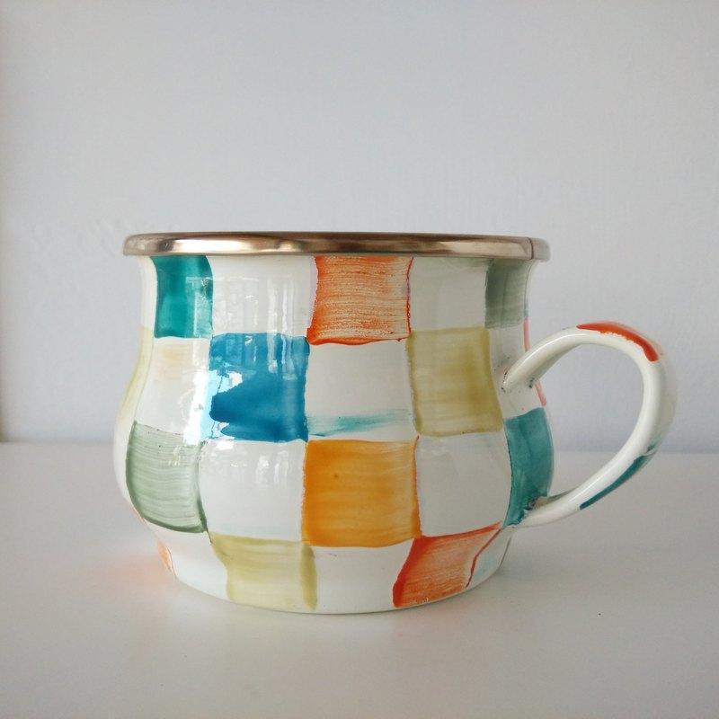 彩色格紋彩繪琺瑯杯 附手作禮物包裝 400ml