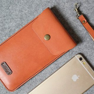 YOURS handmade leather goods copper button back pocket pocket leather phone case (including wrist strap) i7Plus