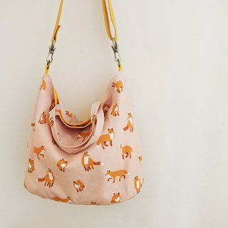 Snow fox round bottom hand reclined backpack can be adjusted strap length Korean Oxford cloth powder
