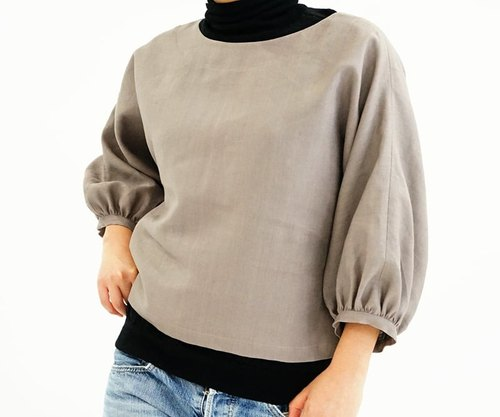 Midweight Belgium linen dolman sleeve of gather cuffs / Vaniyu t12-5