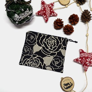 Rose on black Small Zippered Bag / Catch All Bag stores charger cords/ cosmetic