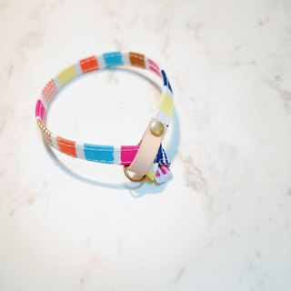 Cat collar color imprint stripe box vegetable tanned leather bells can add purchase tag