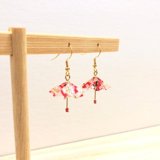 [Limited color system] Japanese thousand language paper umbrella series earrings