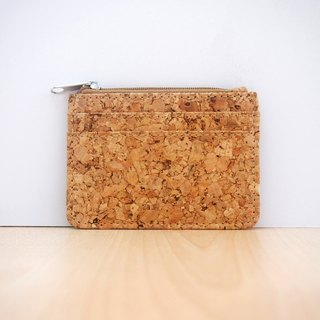 Naturaism naturalistic cork thin short card wallet wallet (with zipper)