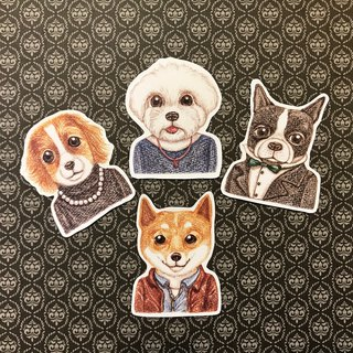 Color pencils Hand drawn fashion dog waterproof sticker set 4 into