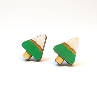 [Snow in the tree] color paste wooden earrings