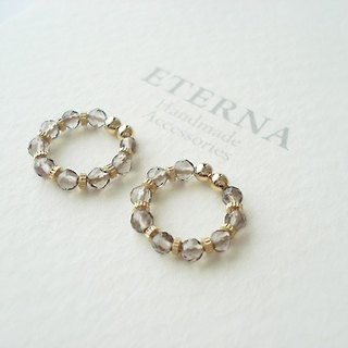 Smokey quartz and metal beads, tiny hoop earrings 夾式耳環
