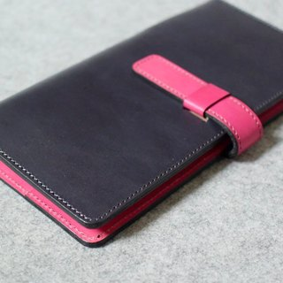 YOURS handmade leather goods leather business check folder inserted tip gray blue leather + bright peach (inside the suede)