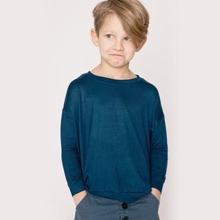 Nordic children's wear organic cotton long-sleeved shirt shape ink blue