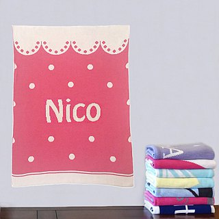 Customized Name blankets ★ Scallop Dot 60x80cm