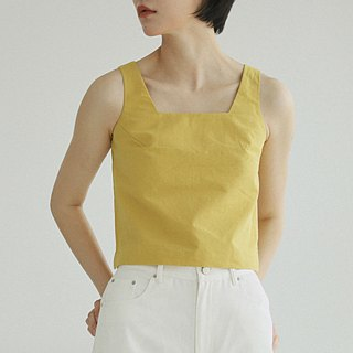 Lemon yellow love dew clavicle square collar control retro word square collar sleeveless shirt square back muscle line linen cotton