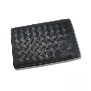 Designer Boutique Series - Advanced Leather Braided Business Card Holder_Classic Black
