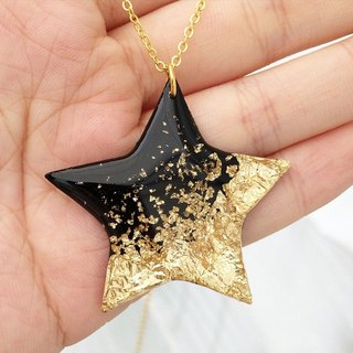 Star Vinyl Record Gold Foil Handmande Necklace // Golden Desert