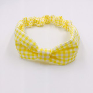 Summer yellow grid catch ribbon bow