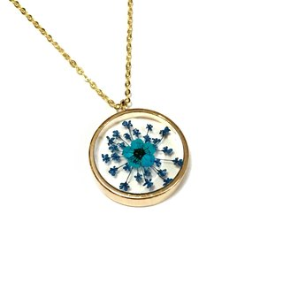 Blue Lovers (Jumbo Golden Frame Necklace)
