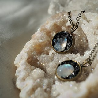 Crushed Hematite Moonstone Necklace
