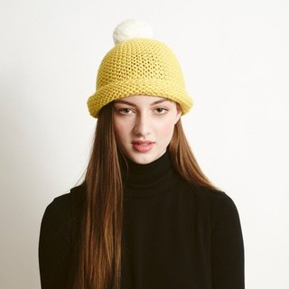 YELLOW SUPER POM BEANIE
