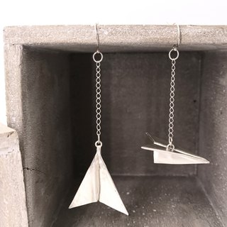 E11020 Jumbo Paper Plane Silver 999 & 925 Earrings