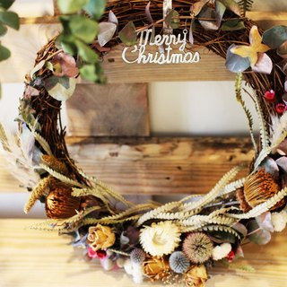 ▎ Eucalyptus micro Christmas dried wreath + UV butterfly ▎ chain dried flowers limited