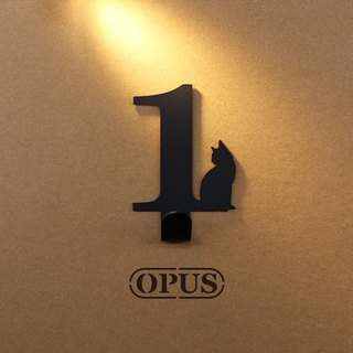 [OPUS Dongqi Metalworking] When the cat meets the number 1 - hook (black) / wall hanging hook / storage without trace