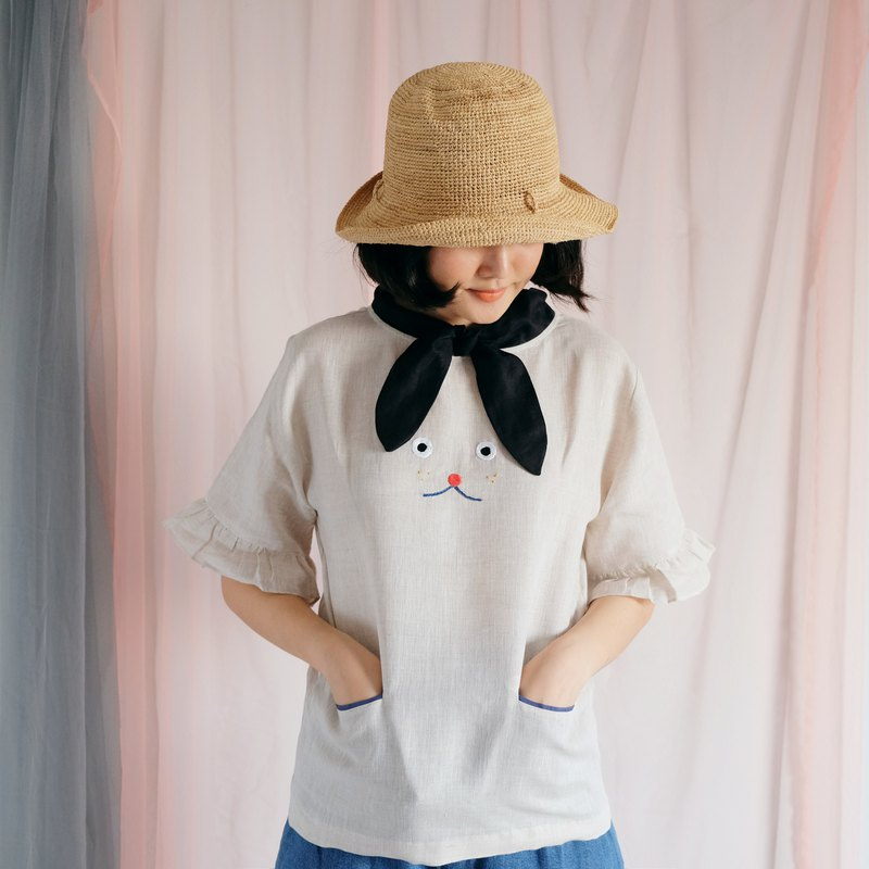 Puppy Blouse - Hand Embroidered Natural Linen with 2 Mini Pockets