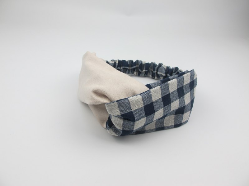 Blue plaid suede - cross hair band