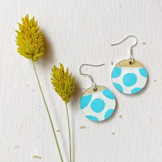 Blue ladybug hand-painted acrylic earrings can change ear clip