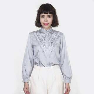 Vintage blue-gray lace lotus leaf collar vintage long-sleeved shirt BM4019