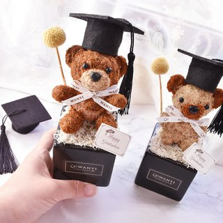 WANYI Graduation Bear Potted Flower Dry Flower / Desk Decoration / Valentine's Day / Graduation Gift / Mother's Day