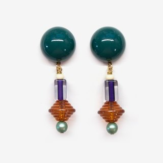 Art Deco Earrings - Green, Post Earrings, Clip On Earrings