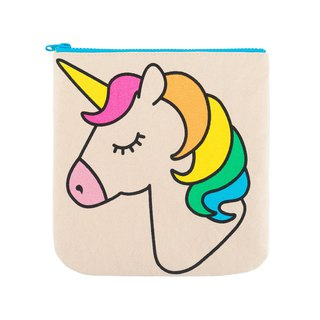 Canada fluff organic cotton zipper bag / cosmetic bag / stationery bag - rainbow unicorn