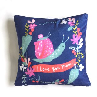 Mom, I love you little snail and mom flower pillow - with pillow core mother birthday gift