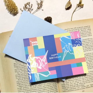 [Unicorn KUZA Unicorn cool notes] - birthday card - lake color