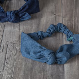 renew_denim ribbon headband