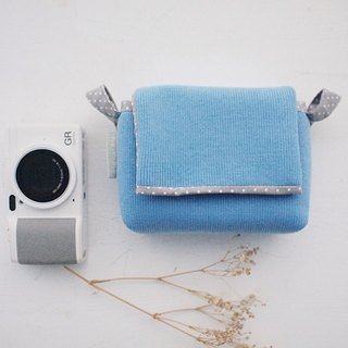hairmo Plain personality simple buckle zipper camera bag - water blue + gray point (monocular / monocular / mobile power)