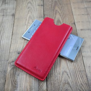 APEE leather handmade ~ plastic phone holster ~ plain red ~ (Sony XZ Premium)