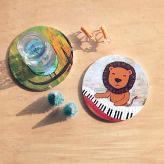 Ceramic water coaster ∣ play piano lion