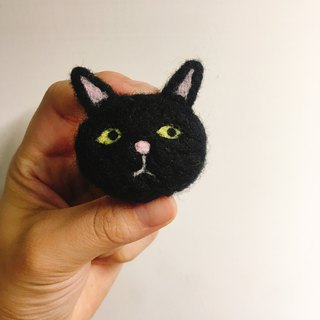 Wool felt handmade black cat pin hair ring