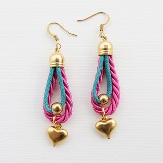 Pink and green rope earrings with heart