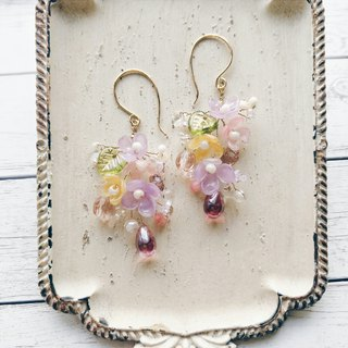 Momolico peach lily earrings gorgeous bouquet rose water drop can be clipped