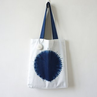 S.A x Cell, Indigo dyed Handmade Geometric Pattern Tote Bag