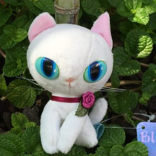 BLUE WORLD, Japan Blue Cat Fluff Doll Charm (10CM) _White BW1511102