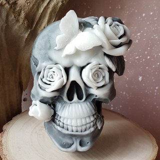 Skull and Roses - scented handmade bamboo charcoal soap